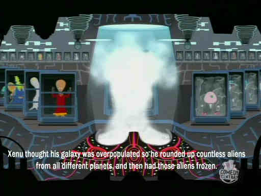 frozen space aliens from the Xenu story on South Park