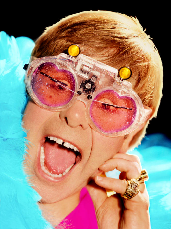 Elton John with maximum windshield wiper motorized glasses